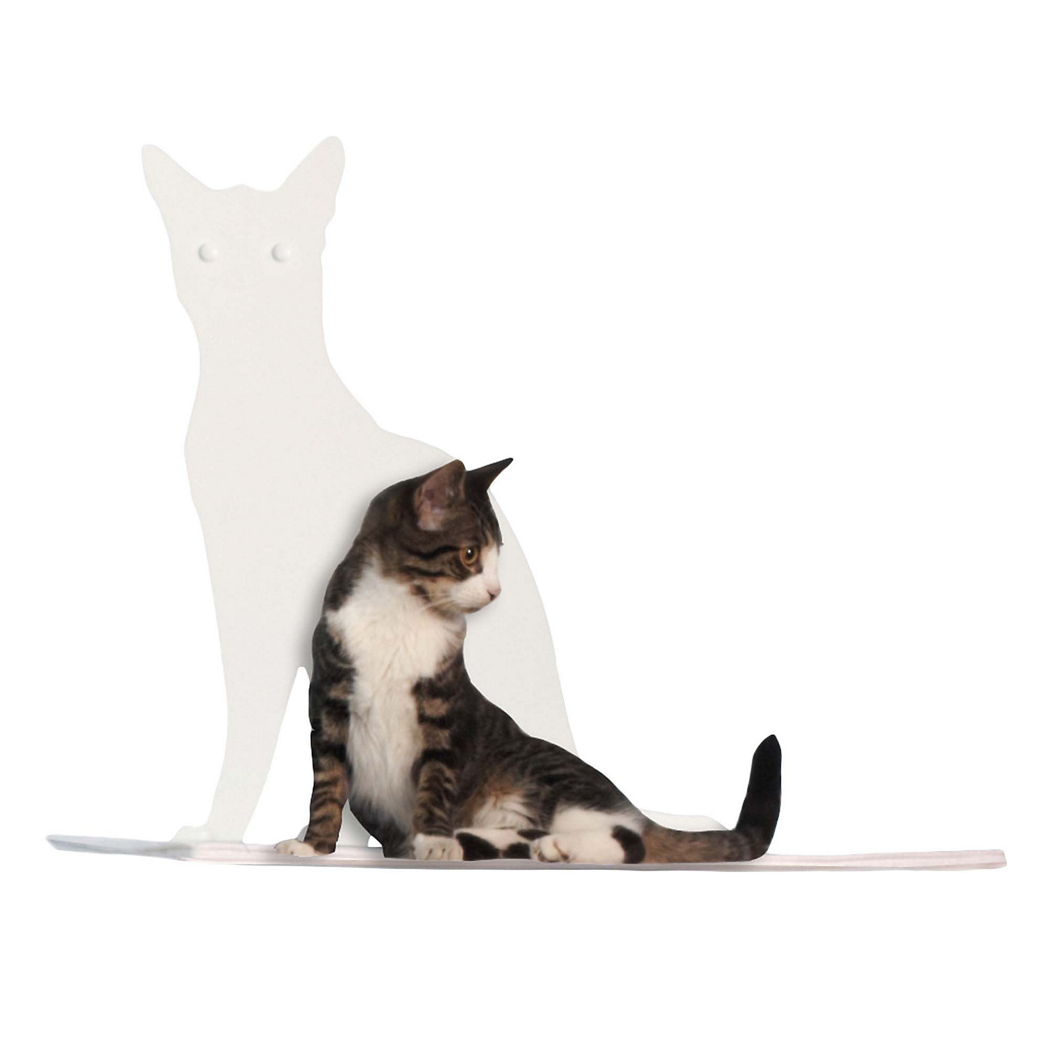 The Refined Feline Perch Silhouette Cat Shelf in White 20H 12 IN