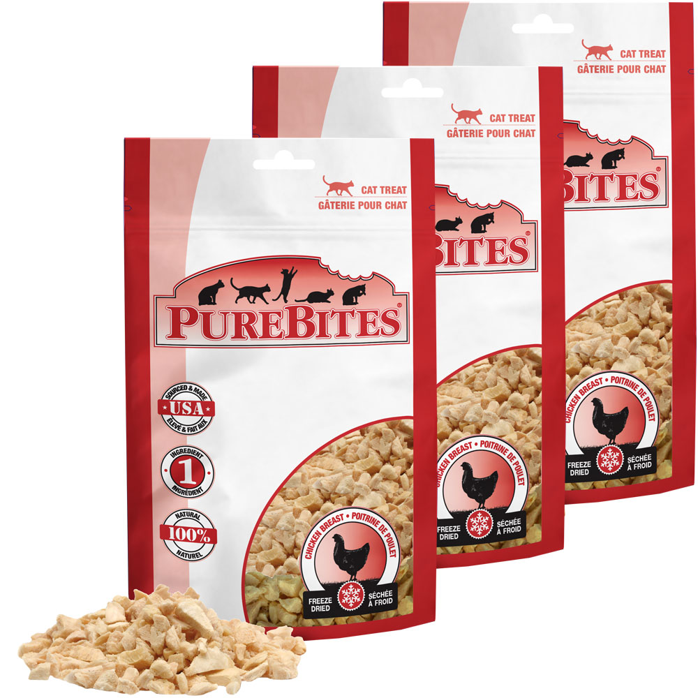 PureBites Chicken Breast Cat Treats 3-Pack (1.80 oz)