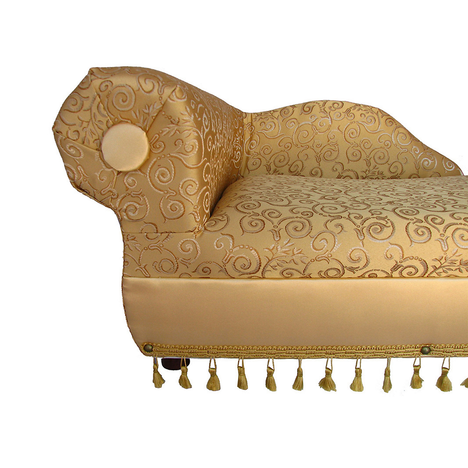 Fantasy Furniture Cleopatra Chaise GoldIvory Pattern 19.5 L X 16 W X 13 H Small Yellow  White