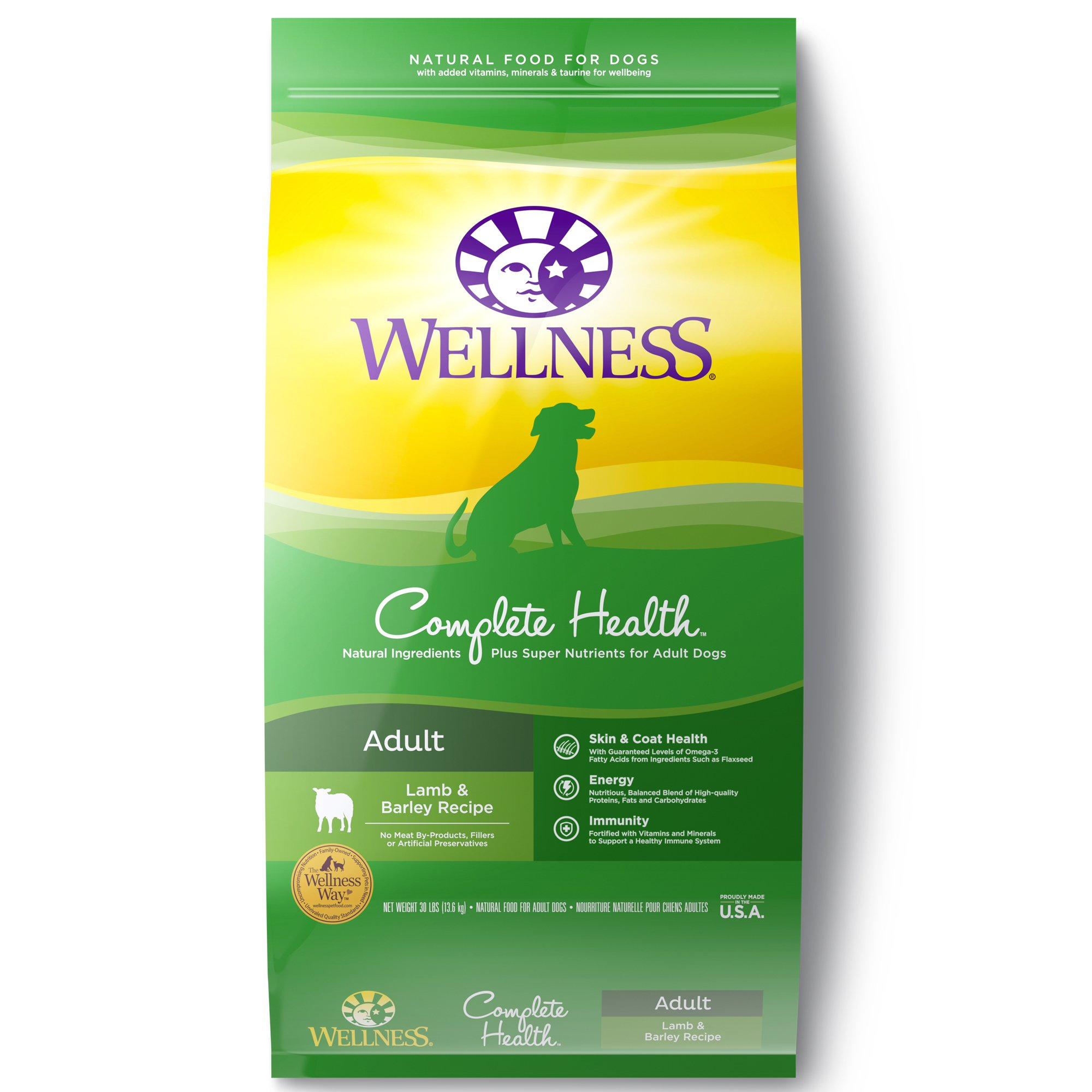 Wellness Complete Health Natural Lamb Barley Meal Recipe Dry Dog Food 30 lbs.