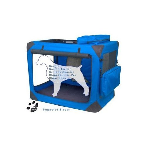 Pet Gear Generation II Blue Deluxe Portable Soft Dog Crate 35.75 L X 23.5 W X 27 H Medium Blue  Black