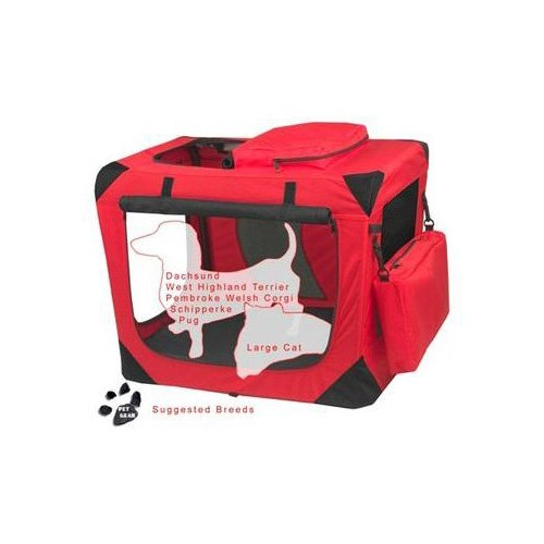 Pet Gear Generation II Red Deluxe Portable Soft Dog Crate 27.5 L X 18 W X 21 H Small Red  Black