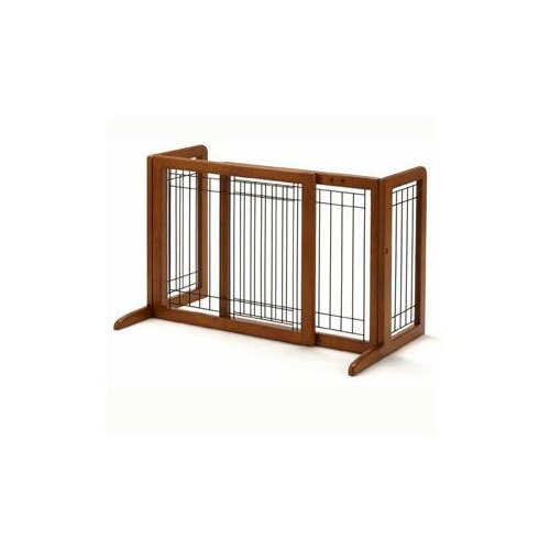 Richell Freestanding StepOver Pet Gate 26.440.2L X 17.7W X 20.1H Small Natural Wood