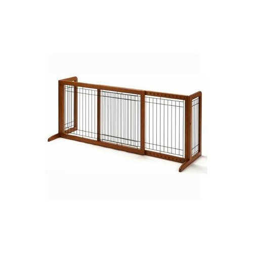 Richell Freestanding StepOver Pet Gate 39.871.3L X 17.7W X 20.1H Large Natural Wood