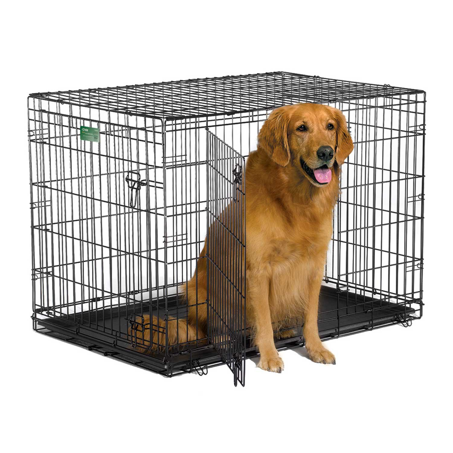Midwest iCrate Double Door Folding Dog Crate 42 L X 28 W X 30 H Large Black