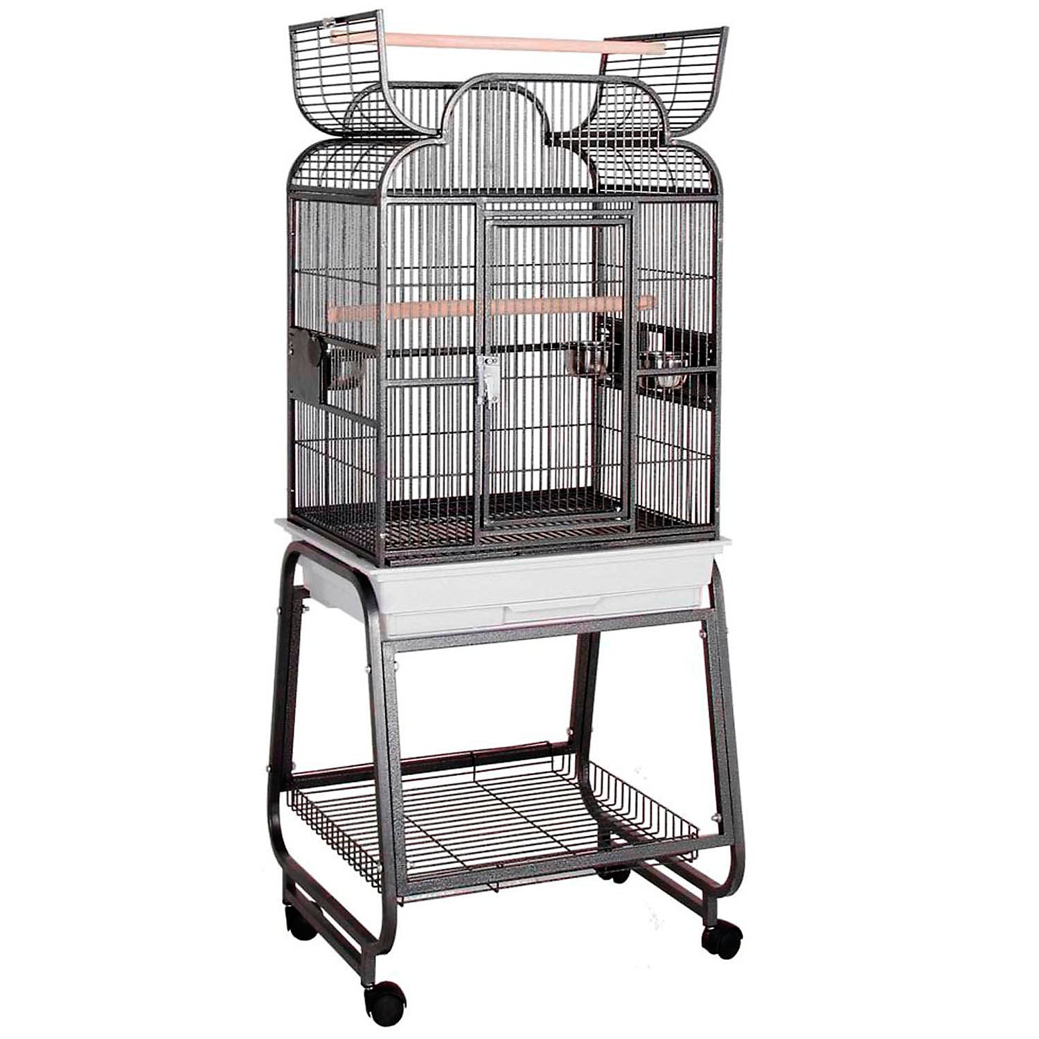 HQ Platinum Opening Scroll Top with Cart Stand Bird Cage 22 L X 17 W X 55 H White