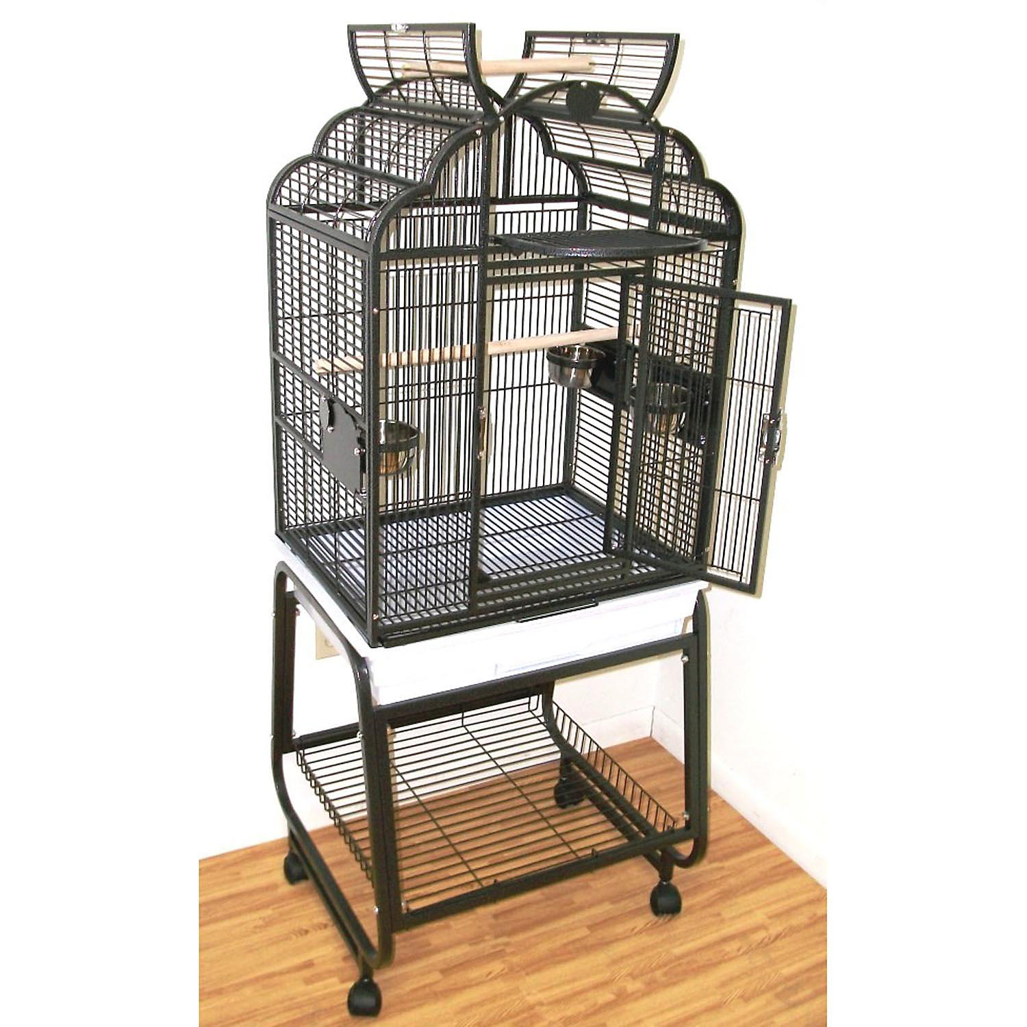 HQ Beige Opening Victorian Top with Cart Stand Bird Cage 22 L X 17 W X 55 H
