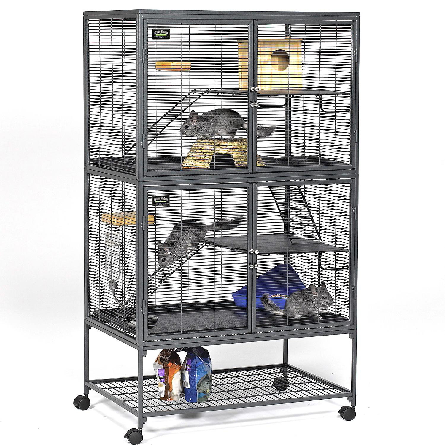 Midwest Critter Nation Double Unit with Stand Small Animal Cage 36 L X 24 W X 63 H Gray