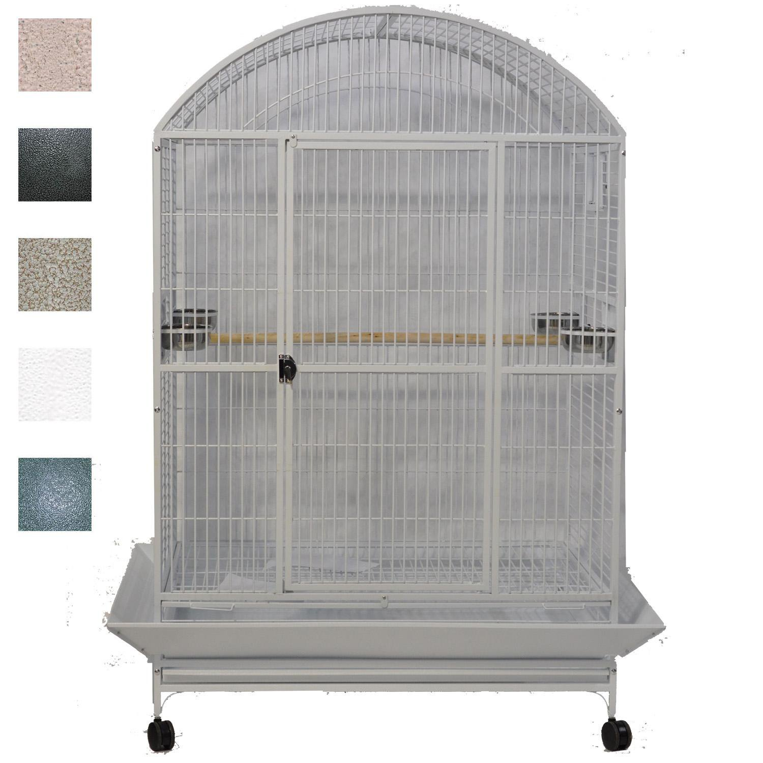 AE Cage Company Platinum Macaw Mansion Enormous XLarge Dometop Bird Cage 48 L X 36 W X 76 H Gray