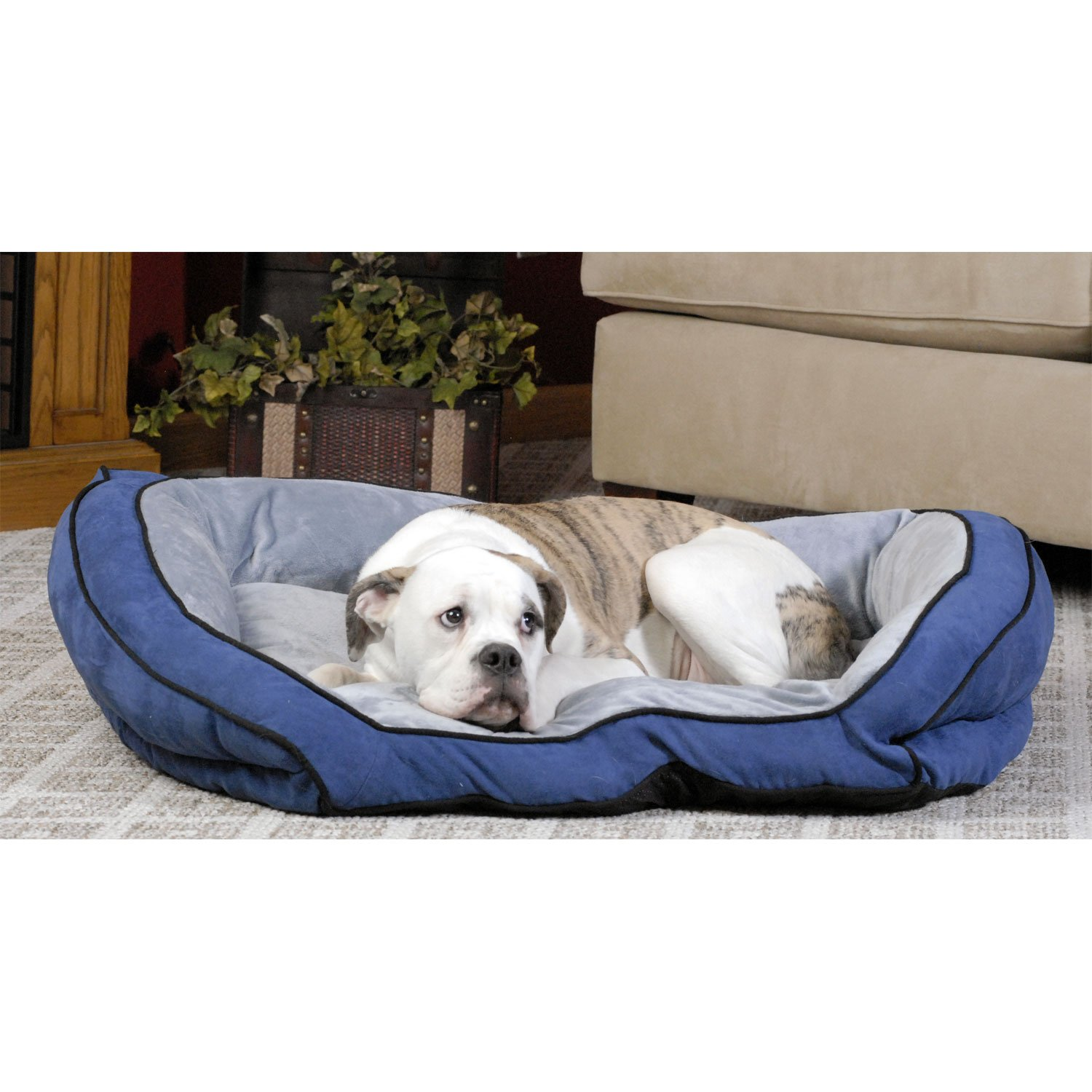 KH Bolster Couch Dog Bed in Blue  Gray 28 L x 40 W Large