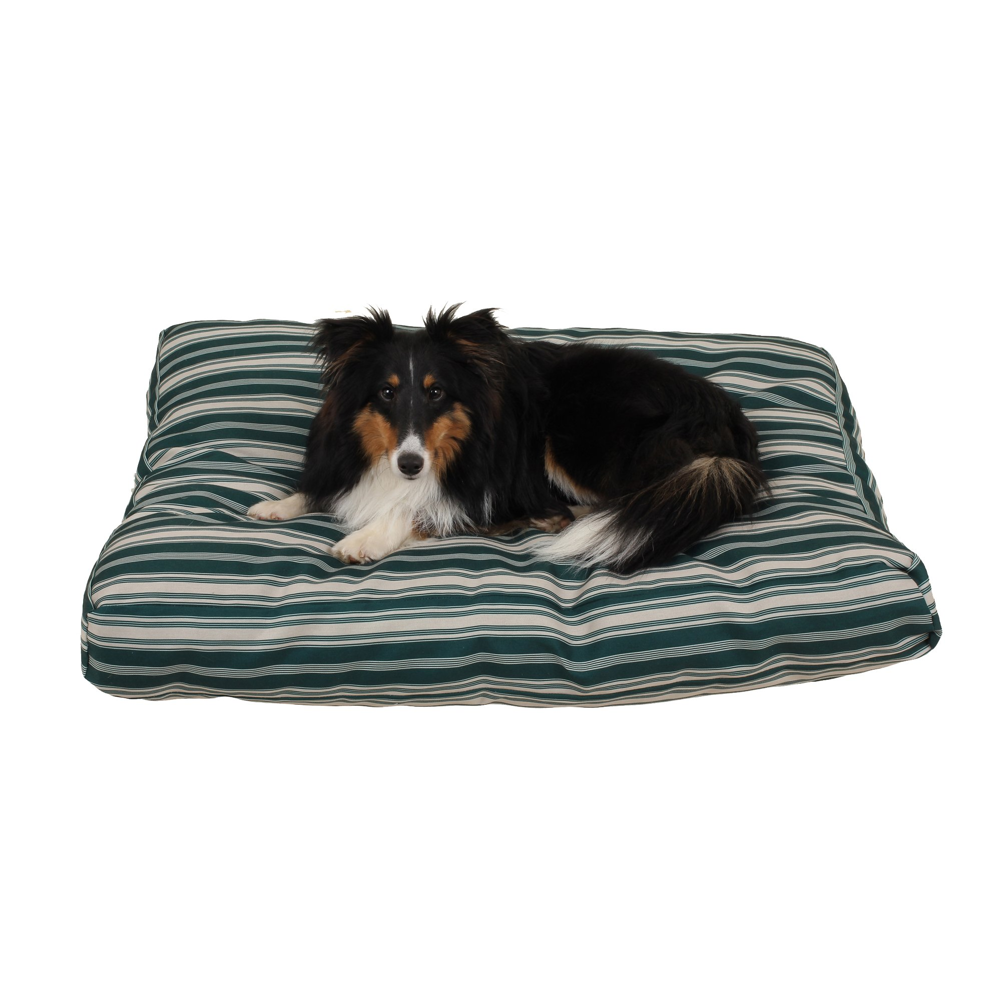 Carolina Pet Company Indoor Outdoor Jamison Green Striped Dog Bed 36 L X 27 W X 4 H 27X36X4