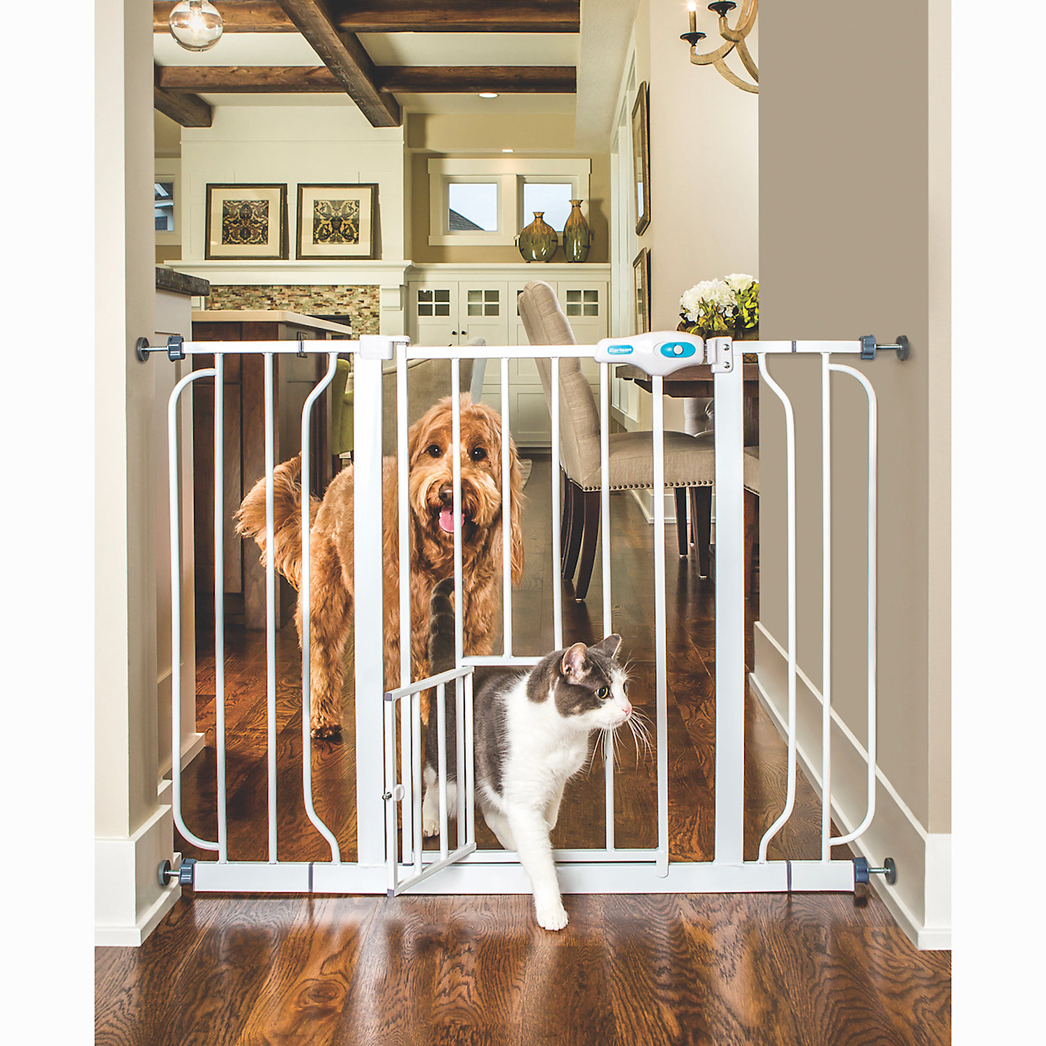 Carlson Pet Products Extra Wide Expandable Gate with Small Pet Door White