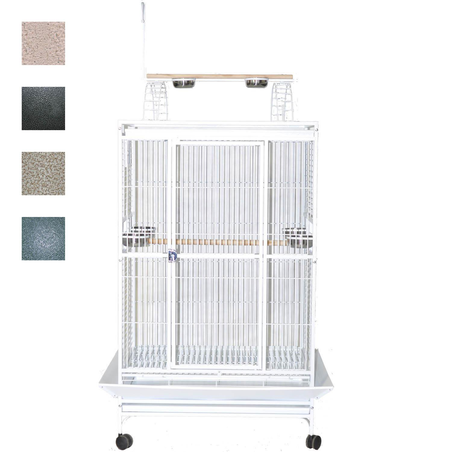 AE Cage Company 36 X 28 Play Top Bird Cage in Stainless Steel Silver