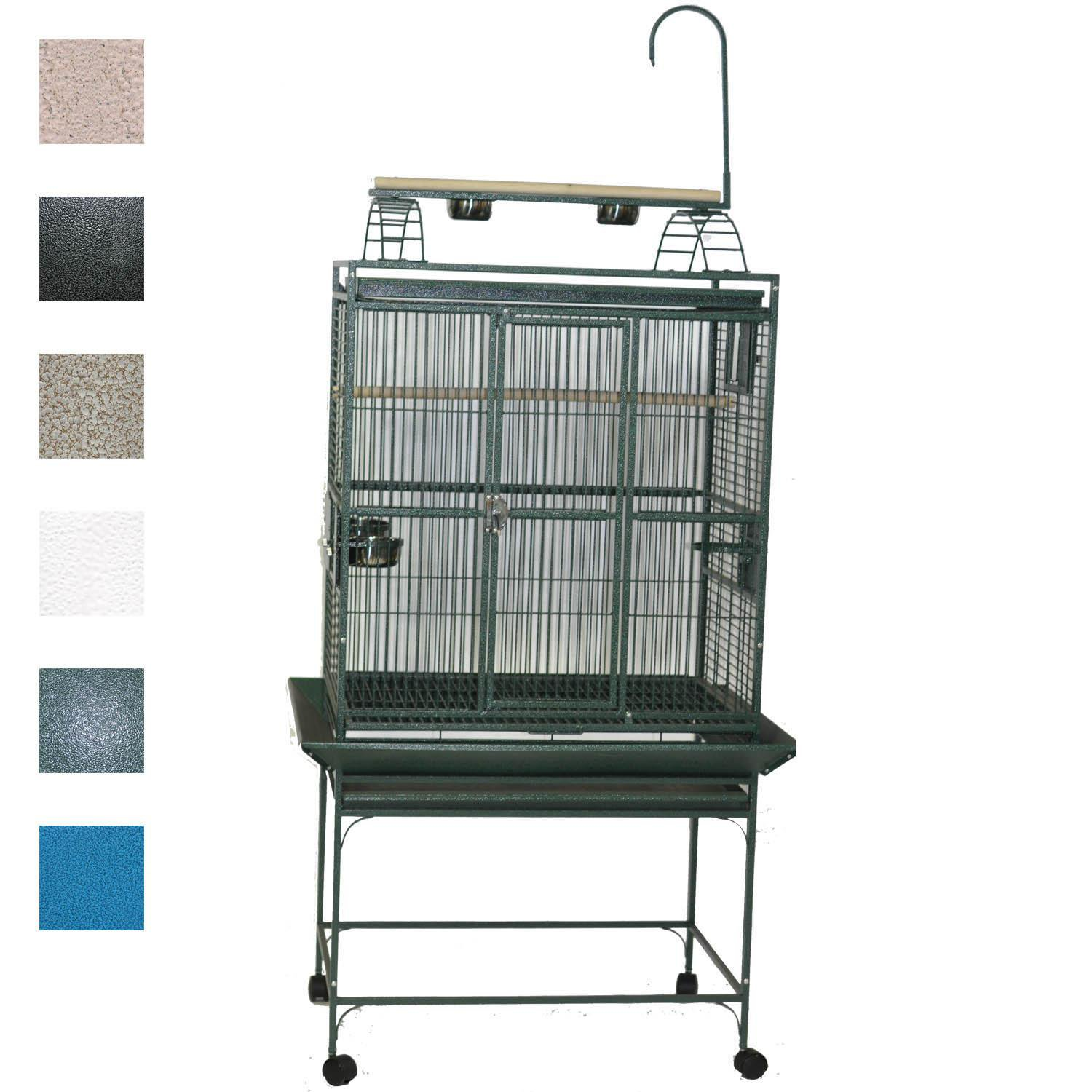 AE Cage Company 32 X 23 Play Top Bird Cage in Stainless Steel Silver