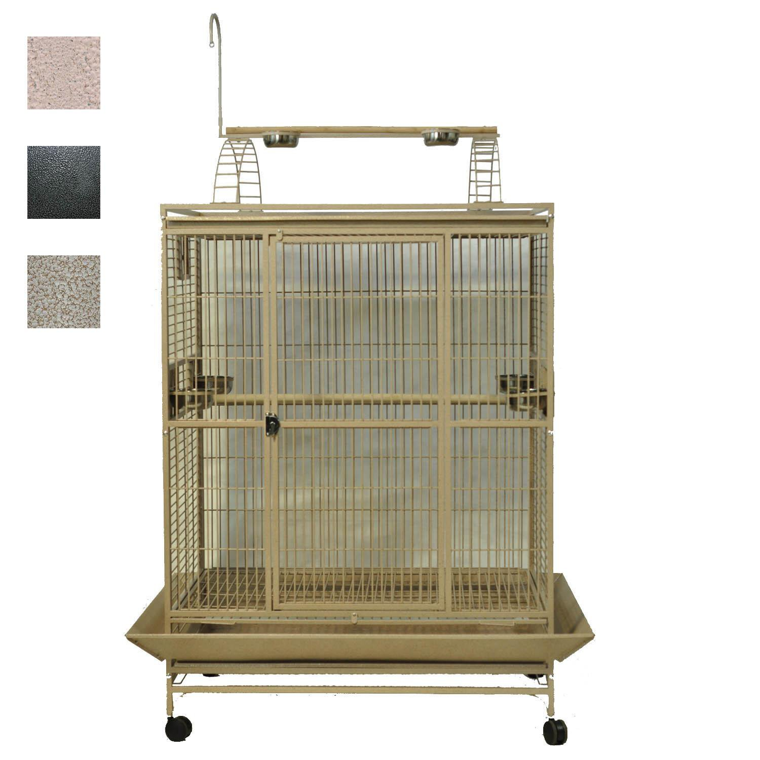 AE Cage Company 48 X 36 Play Top Bird Cage in Stainless Steel Silver
