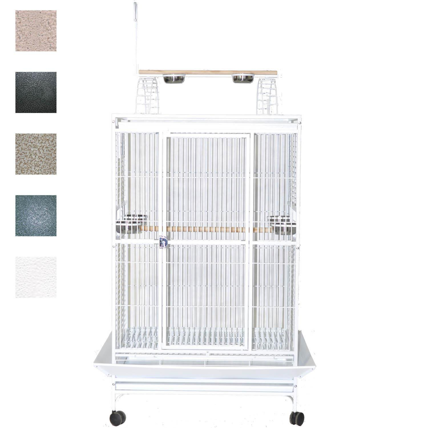AE Cage Company 40 X 30 Play Top Bird Cage in Stainless Steel Silver