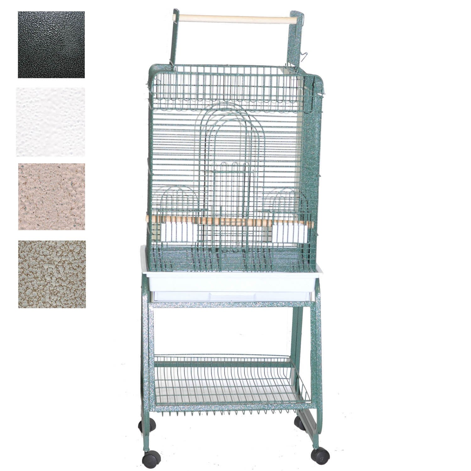 AE Cage Company Play Top Bird Cage with Removable Stand 22 L X 18 W X 62 H Platinum Small Gray