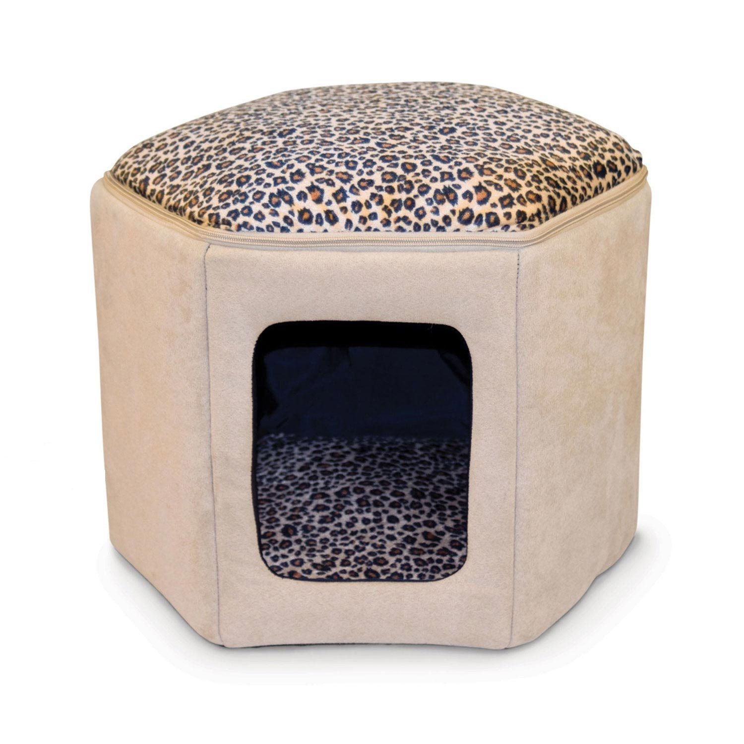 KH Kitty Sleep House Cat Bed in Tan and Leopard Print 17 L X 16 W X 13 H Small