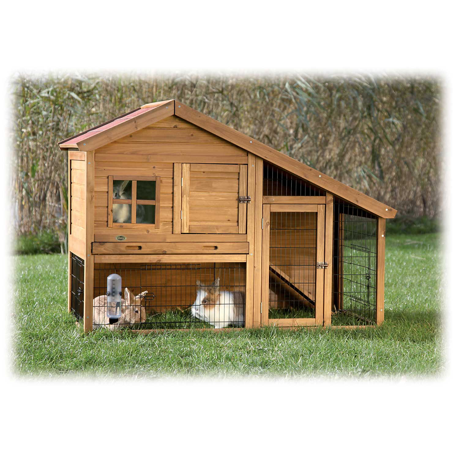 Trixie Natura Two Story Sloped Roof Rabbit Hutch with Run 59.25 L X 42W X 31.5 H Brown