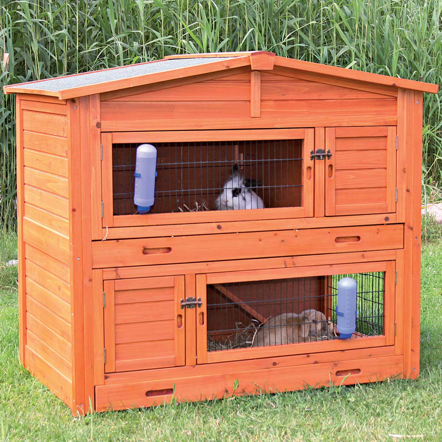Trixie Natura Two Story Peaked Roof Rabbit Hutch 52.25 L X 32.25 W X 47.25 H Large Brown