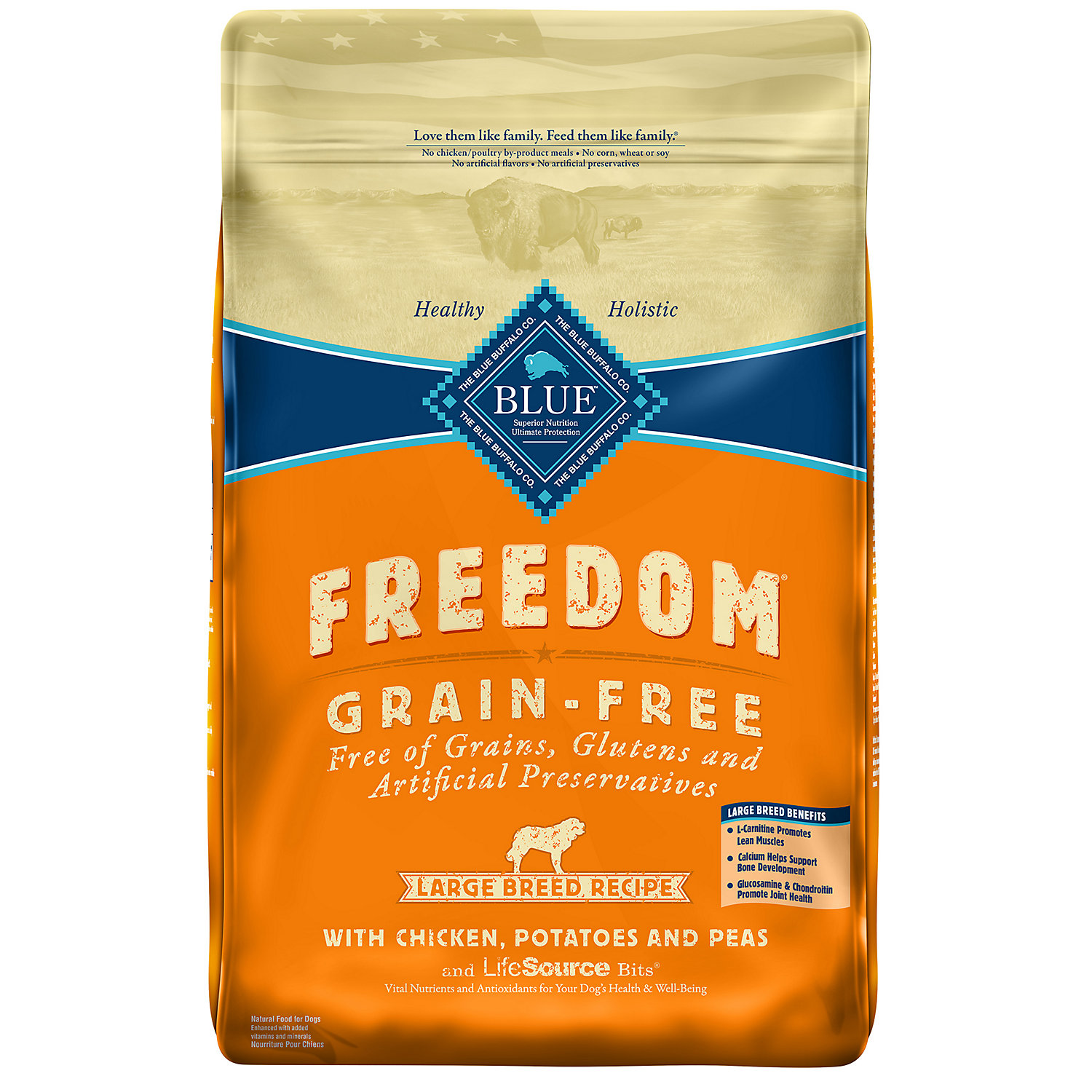 Blue Buffalo Freedom Large Breed Grain Free Chicken Recipe Adult Dog Food 24 lbs.