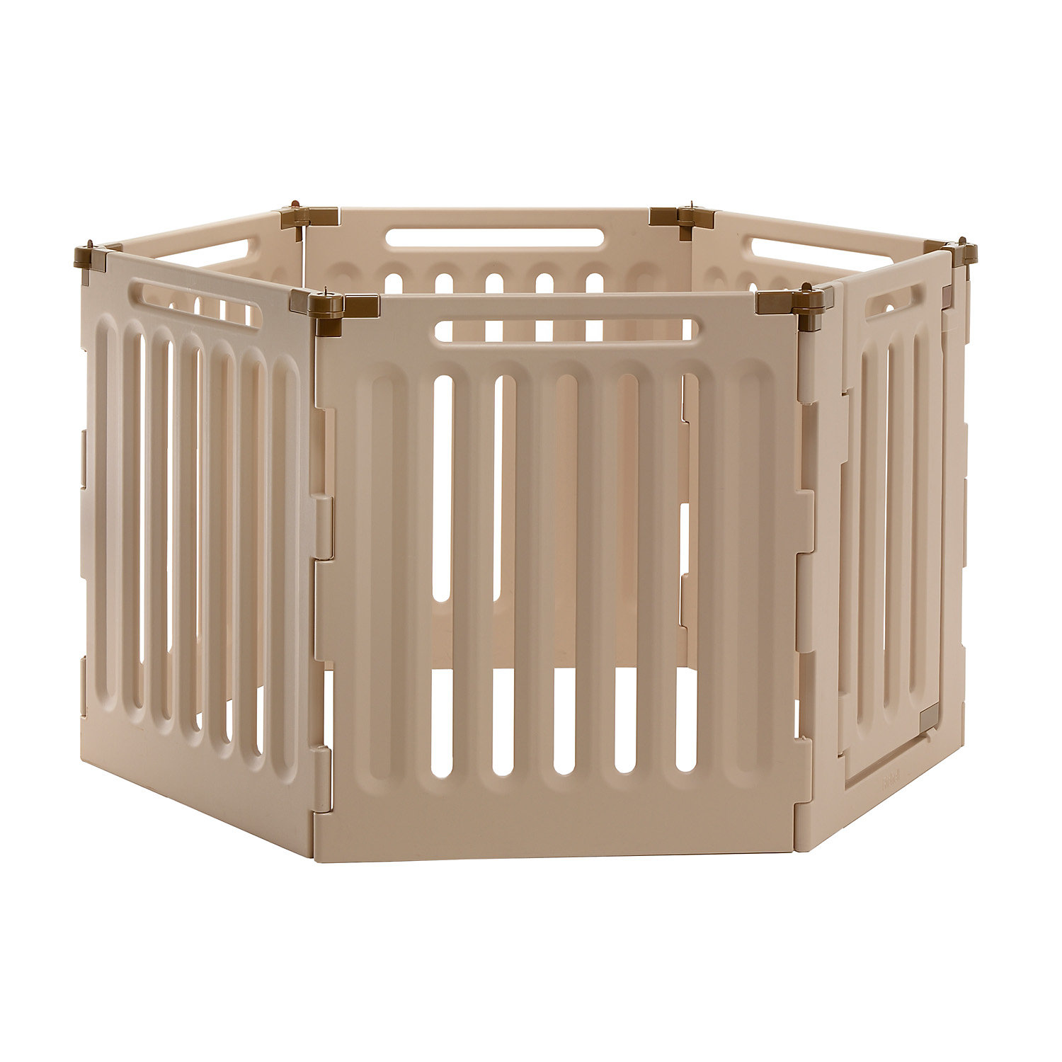 Richell Convertible Indoor Outdoor Play Pen Six Panel 63.8 IN Tan
