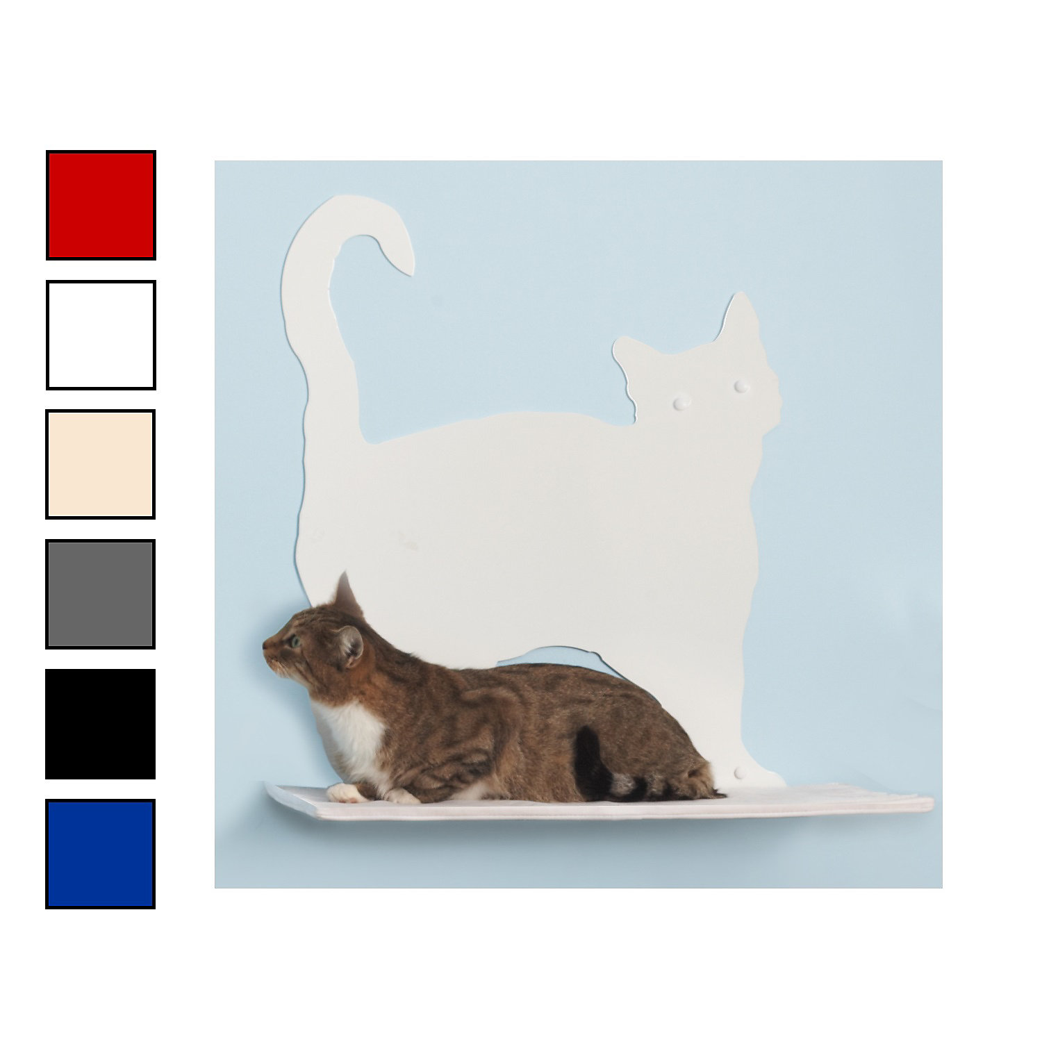 The Refined Feline Prance Silhouette Cat Shelf in OffWhite 20H