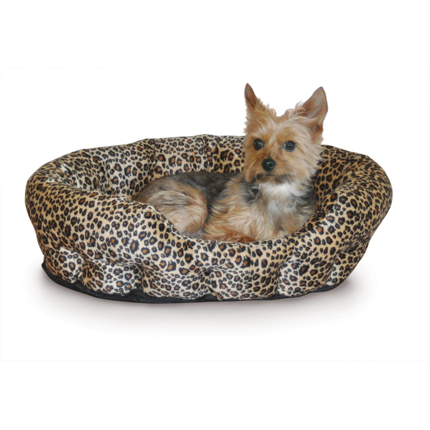 KH SelfWarming Nuzzle Nest Dog Bed in Brown Leopard 19 L x 19 W Small