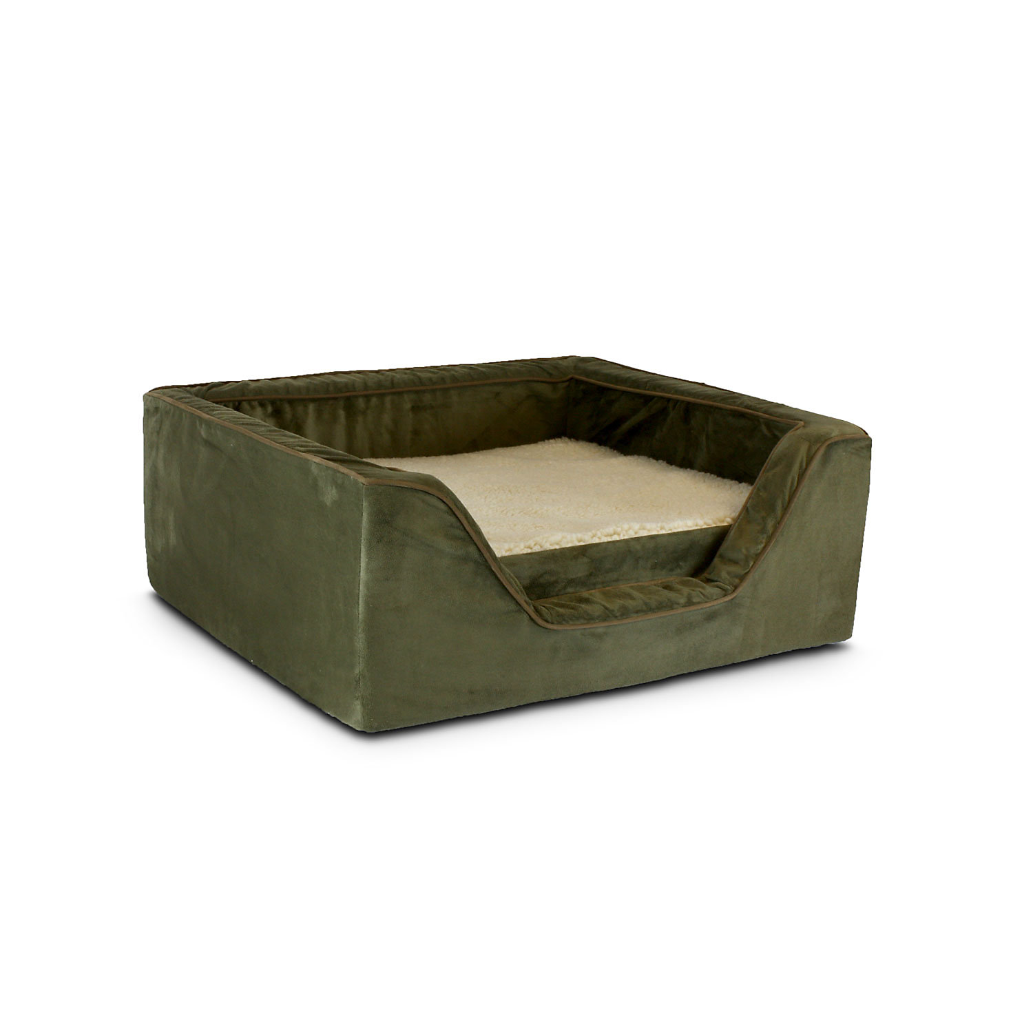 Snoozer Luxury Square Bed with Memory Foam in Olive with Coffee Cording 23 L X 19 W X 12 H Medium Green  Brown