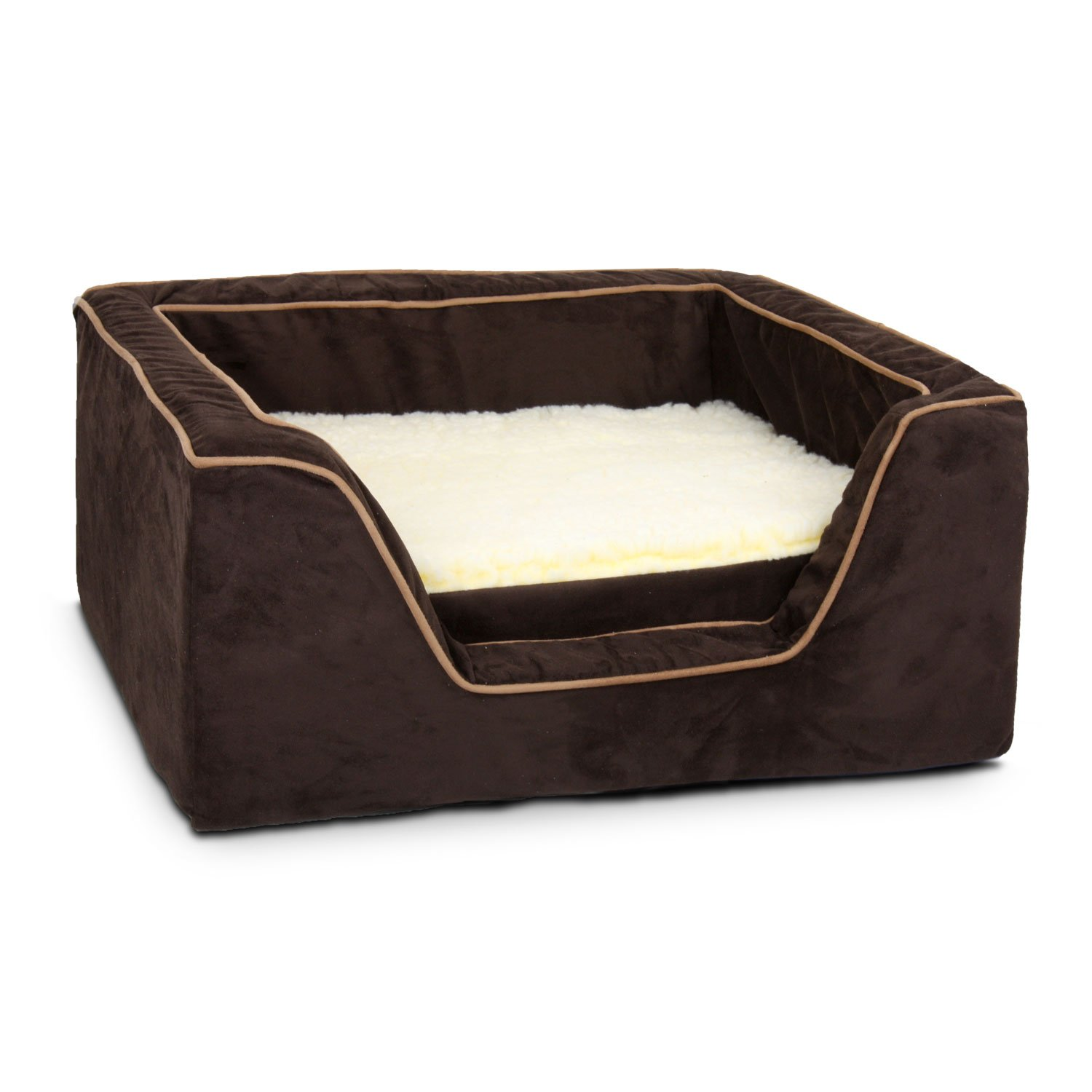 Snoozer Luxury Square Bed with Memory Foam in Hot Fudge with Cafe Cording 23 L x 19 W Medium Brown