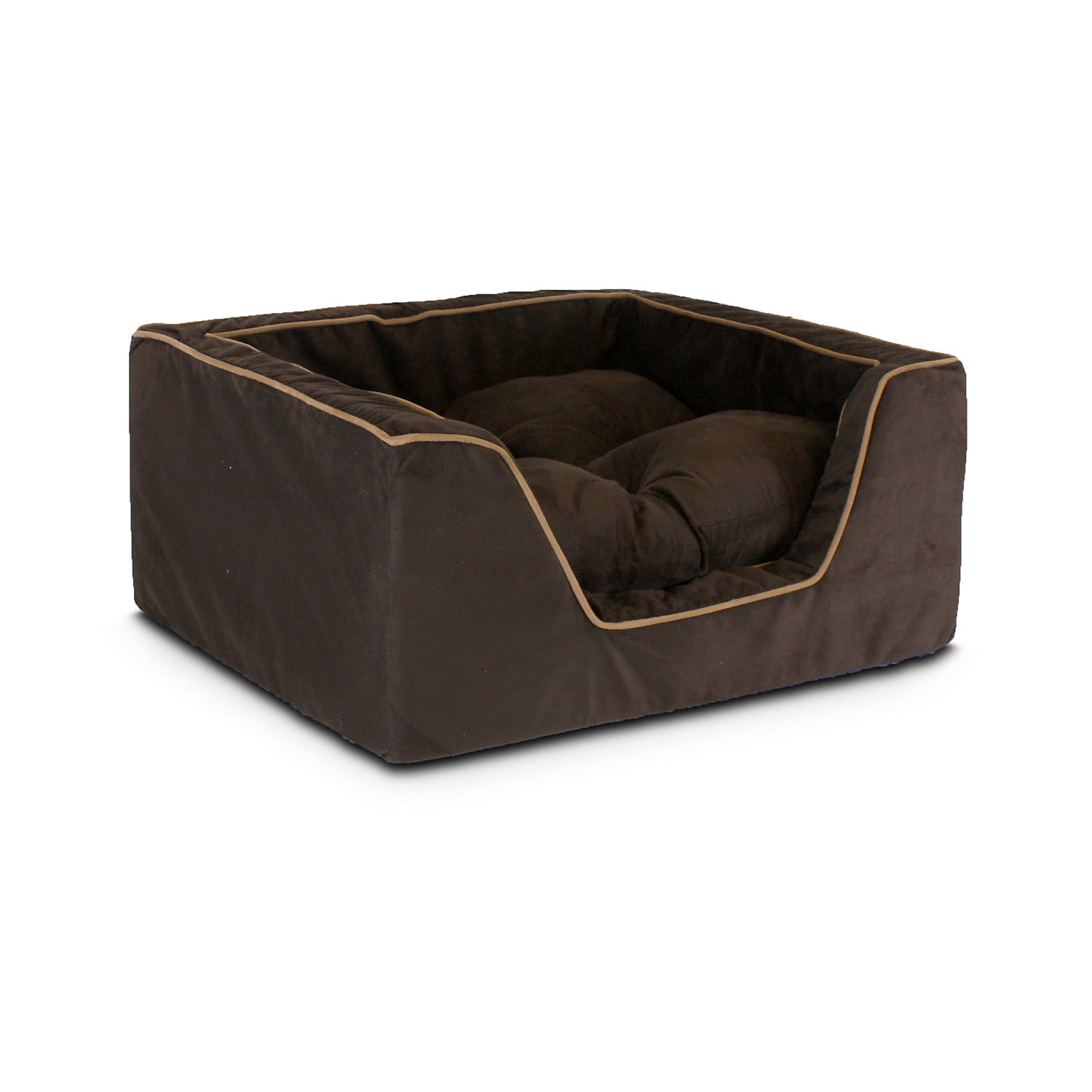 Snoozer Luxury Square Bed in Hot Fudge with Cafe Cording 27 L x 23 W Large Brown