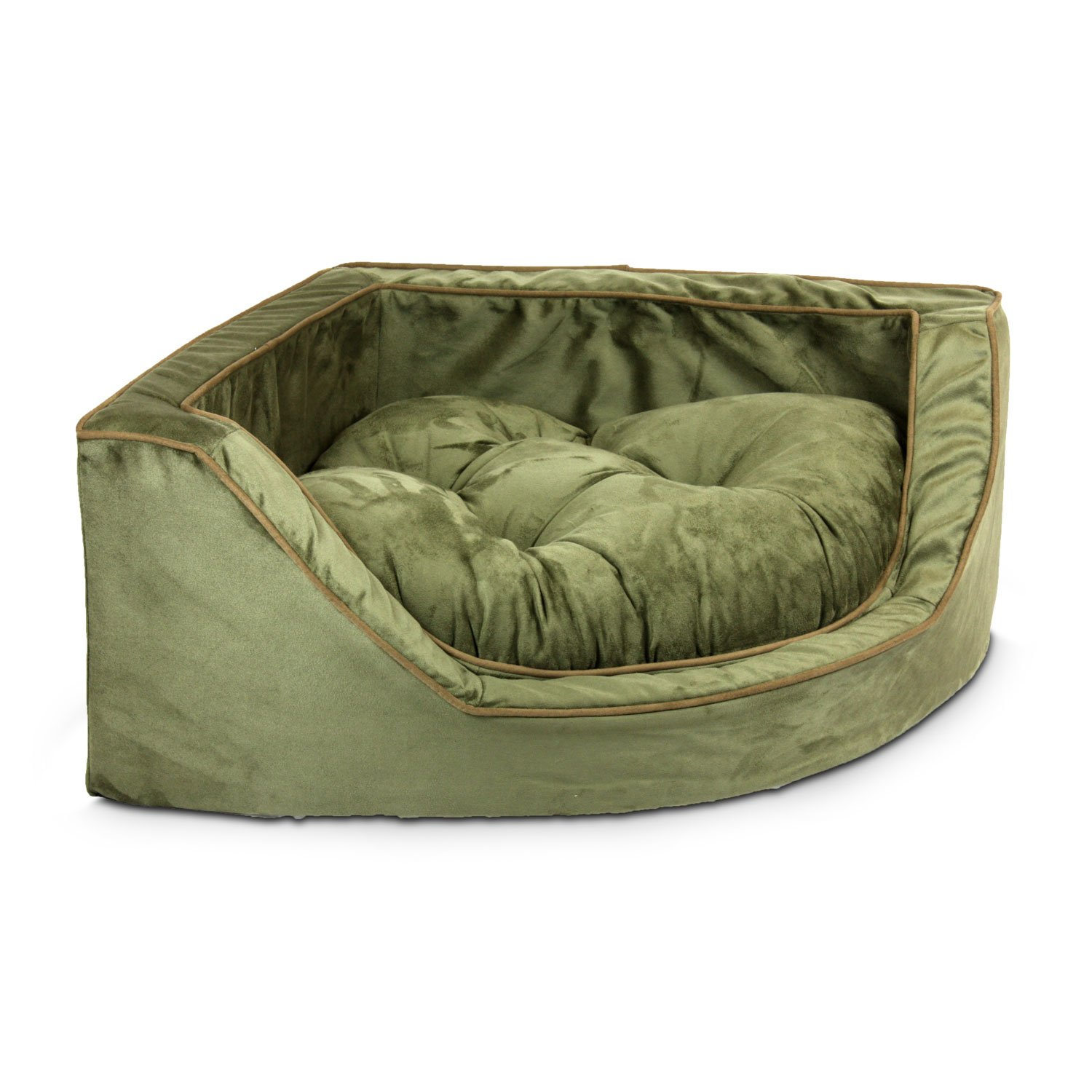 Snoozer Luxury Corner Bed in Olive with Coffee Cording 25 L x 25 W Medium Green  Brown