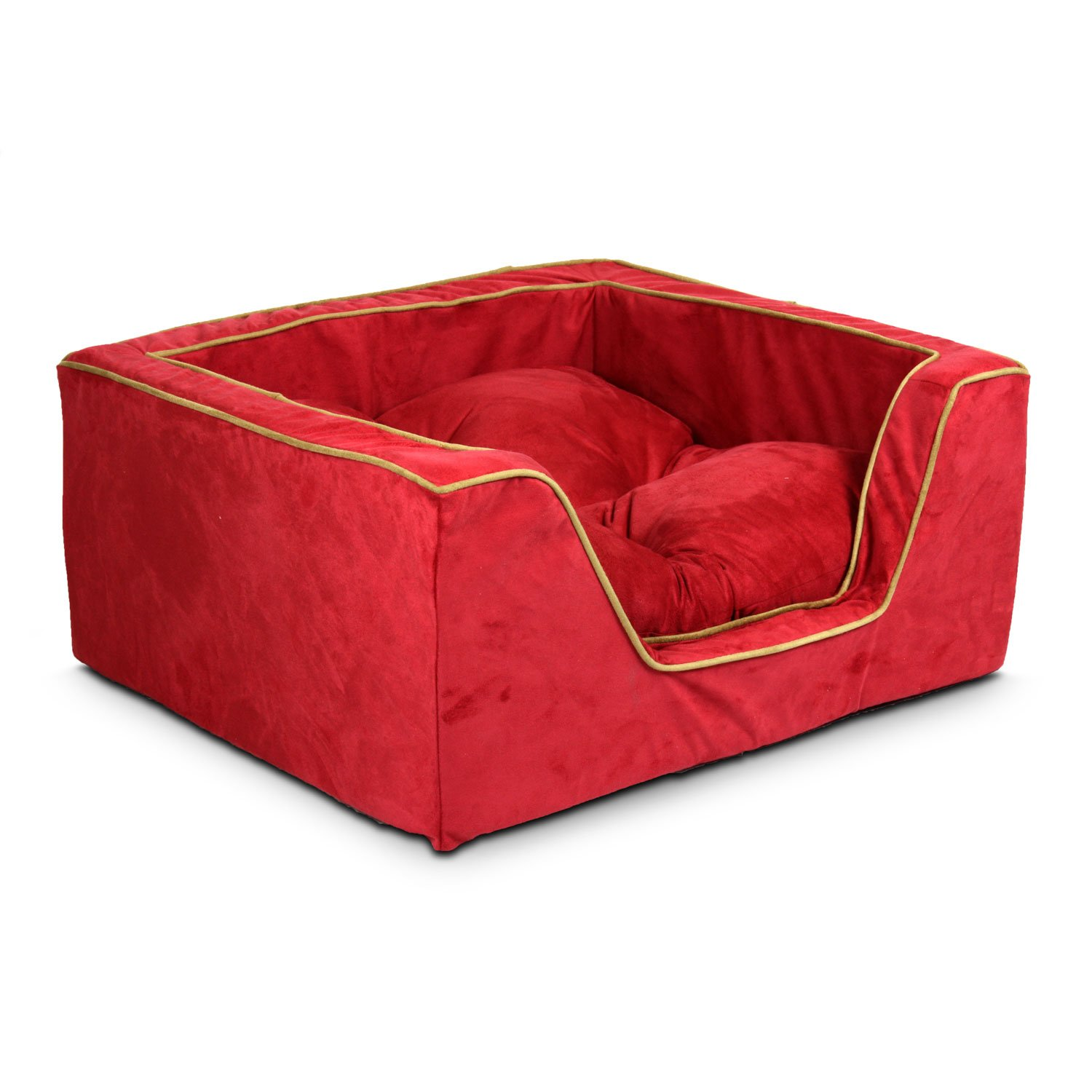 Snoozer Luxury Square Bed in Red with Camel Cording 31.5 L x 27.5 W XLarge Red  Tan