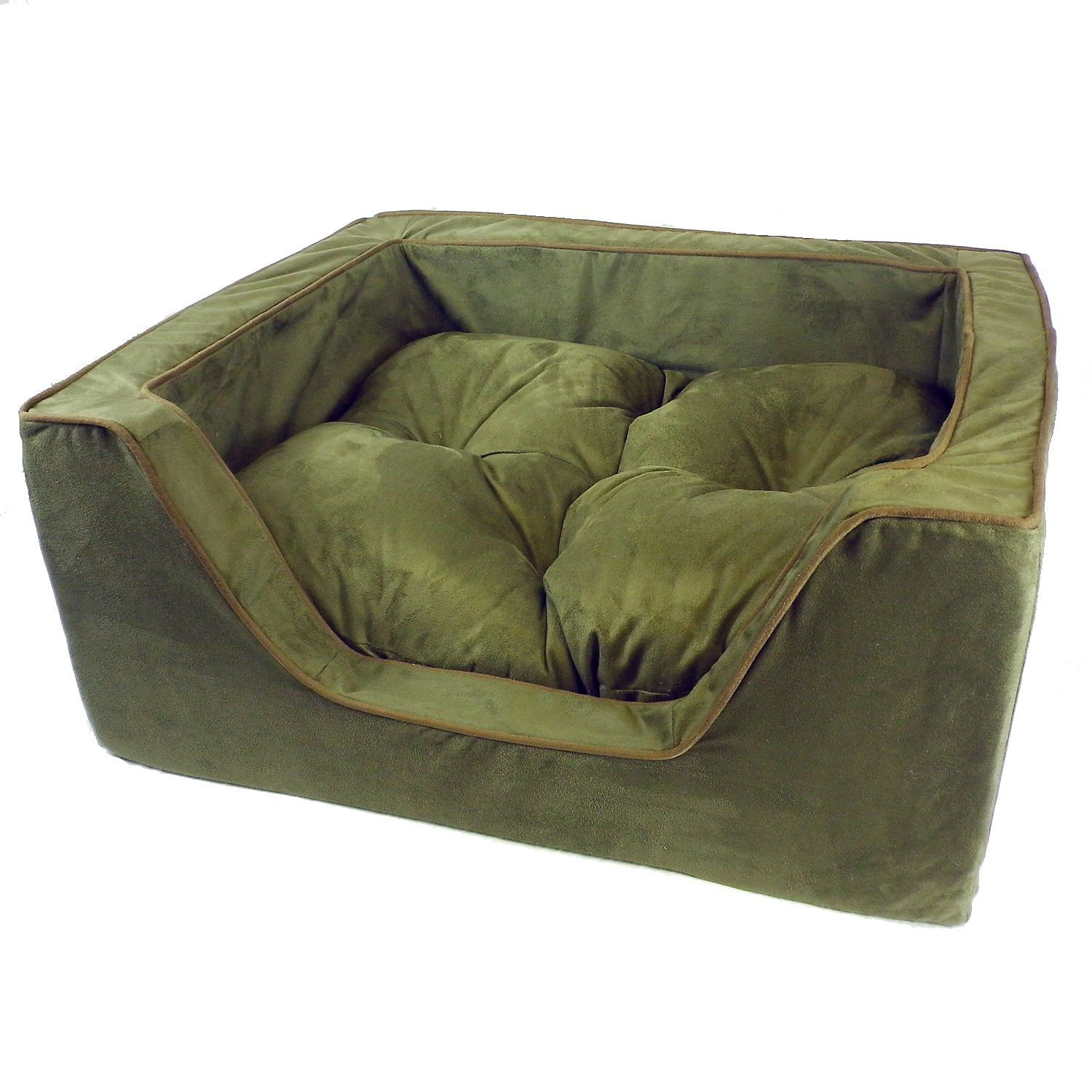 Snoozer Luxury Square Bed in Olive with Coffee Cording 27 L X 23 W X 12 H Large Green  Brown