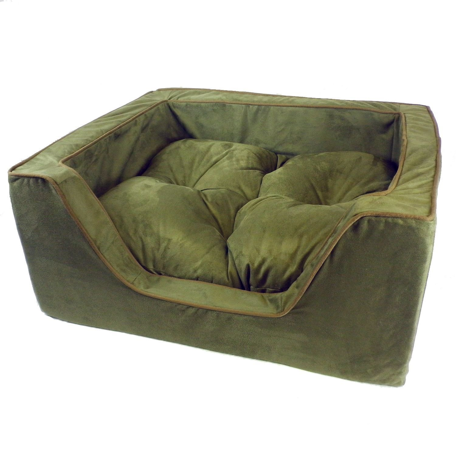 Snoozer Luxury Square Bed in Olive with Coffee Cording 23 L x 19 W Medium Green  Brown