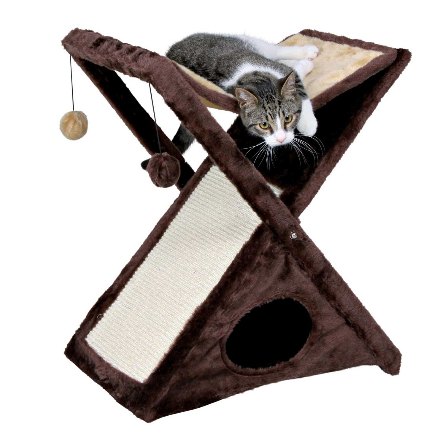Trixie Miguel Cat Scratching Tower in Beige  Brown 25.5H 13.75 IN