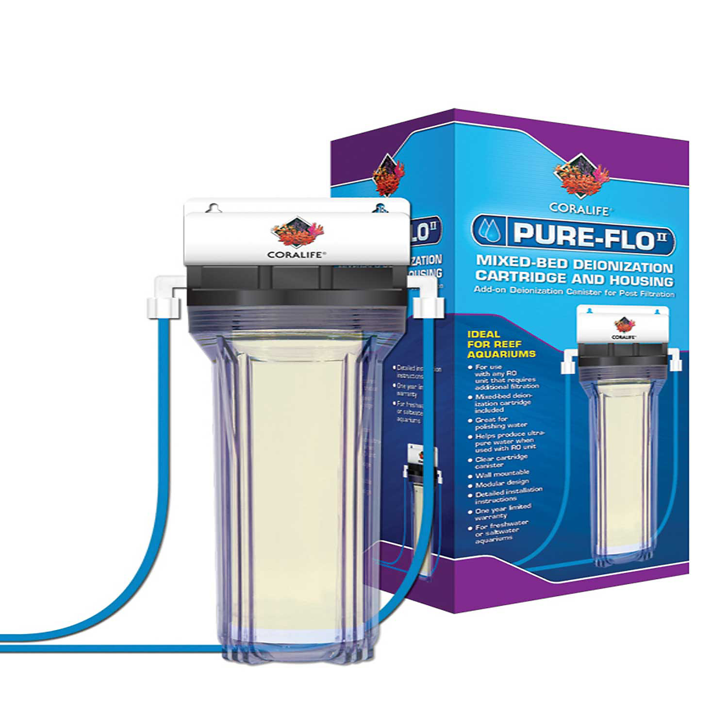Coralife Pure Flo II Reverse Osmosis Deionization Canister Add On 6.5 L X 5.6 W X 13.5 H