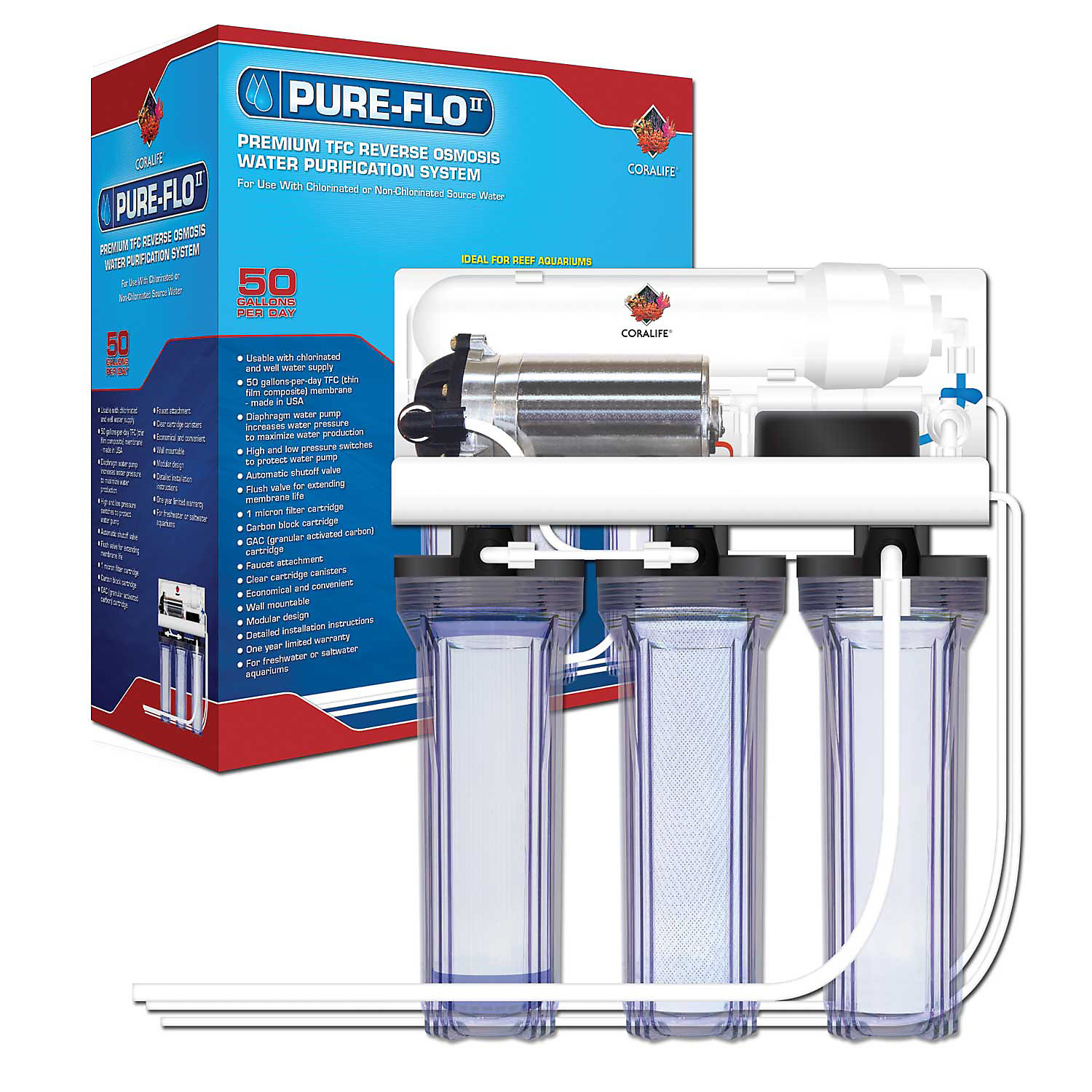 Coralife Pure Flo II 50 Gallon Reverse Osmosis 3 Canister System with Pump