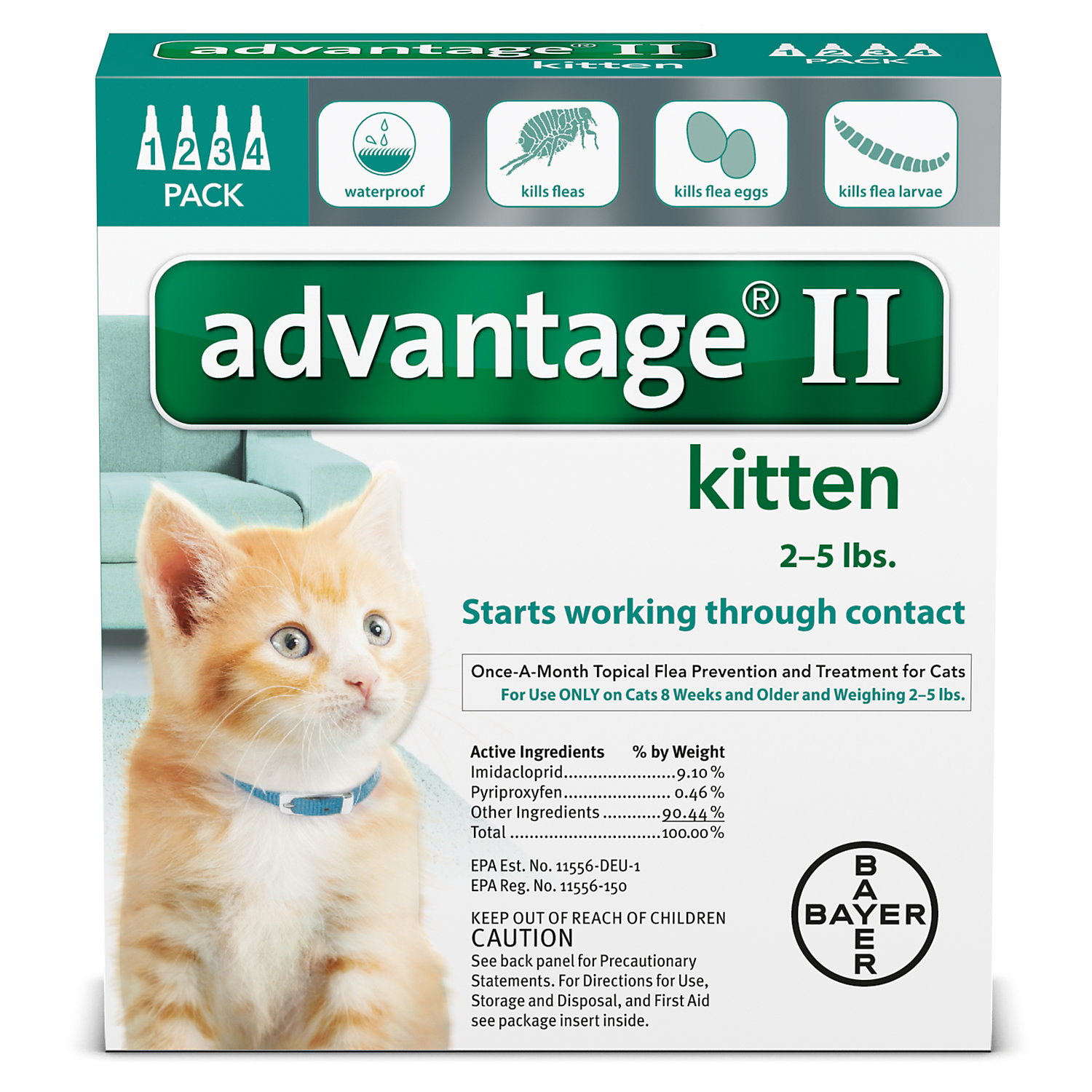Advantage II OnceAMonth Cat  Kitten Topical Flea Treatment 2 to 5 lbs.