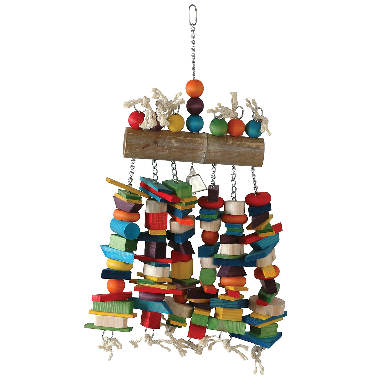 Caitec Bamboo Log Bird Toy with Bell 16 W X 27 H XLarge MultiColor