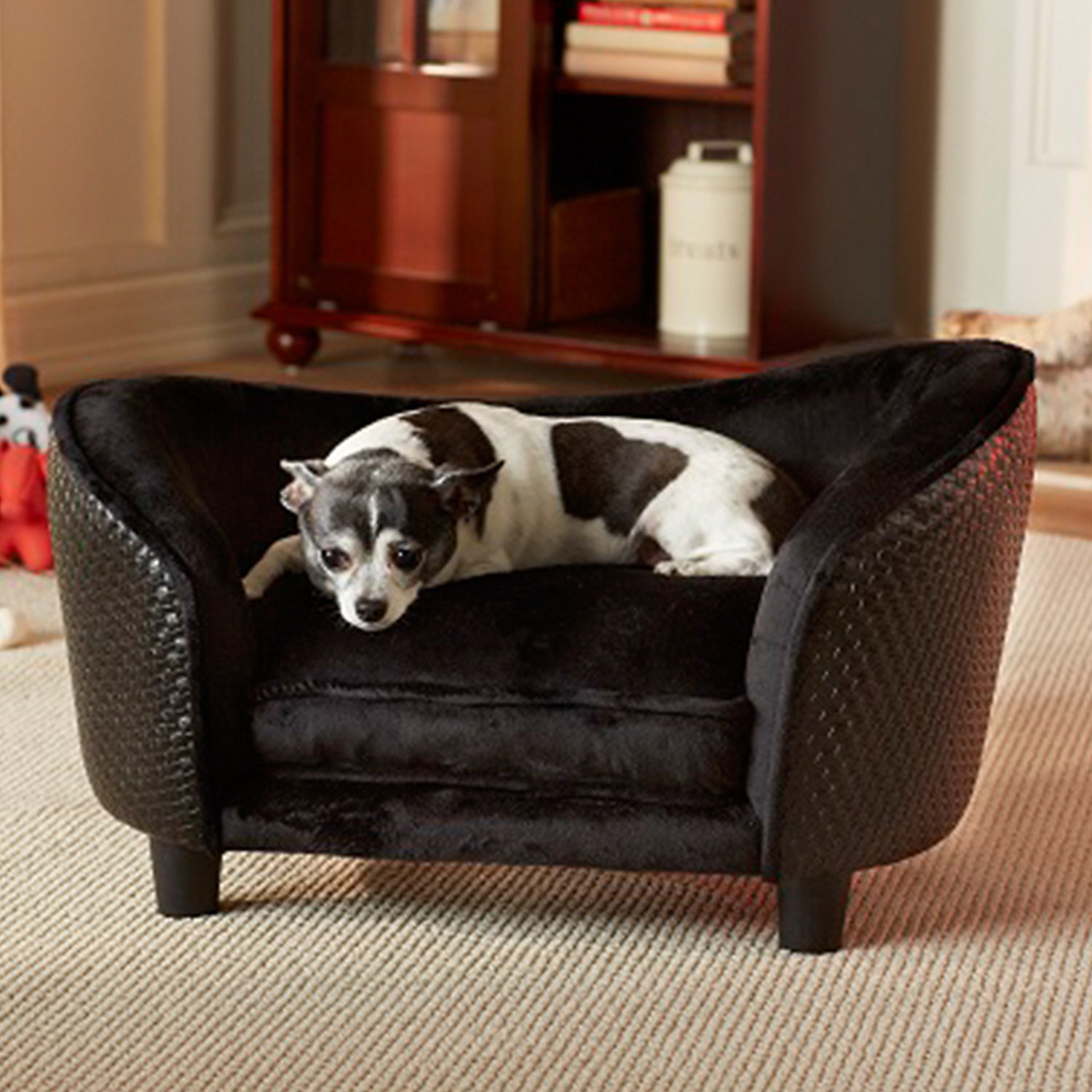 Enchanted Home Pet Ultra Basketweave Plush Dog Bed in Black 26.5 x 16 Small