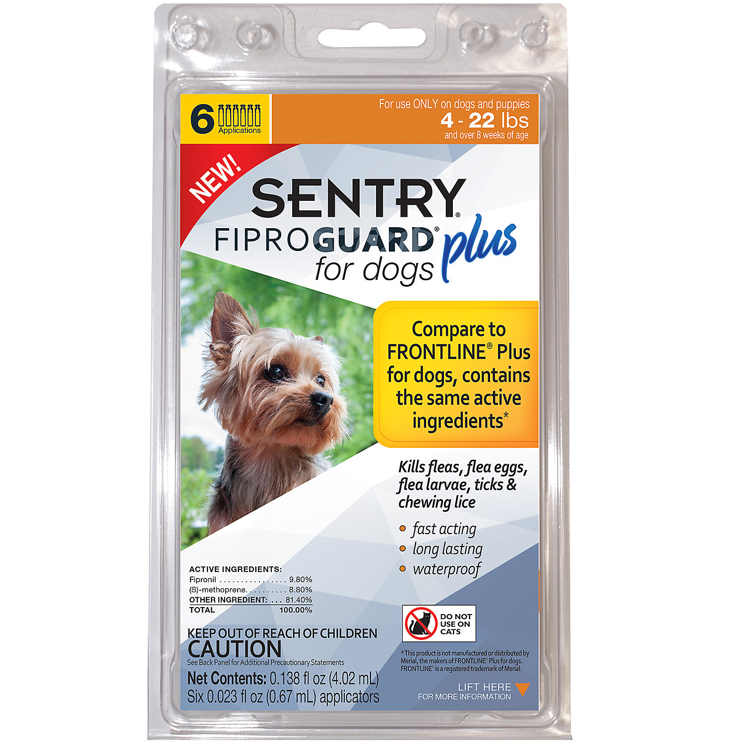 Sentry FIPROGUARD PLUS for Dogs  Puppies 422 lbs. Topical Flea  Tick Treatment 6 Month Supply 6 CT