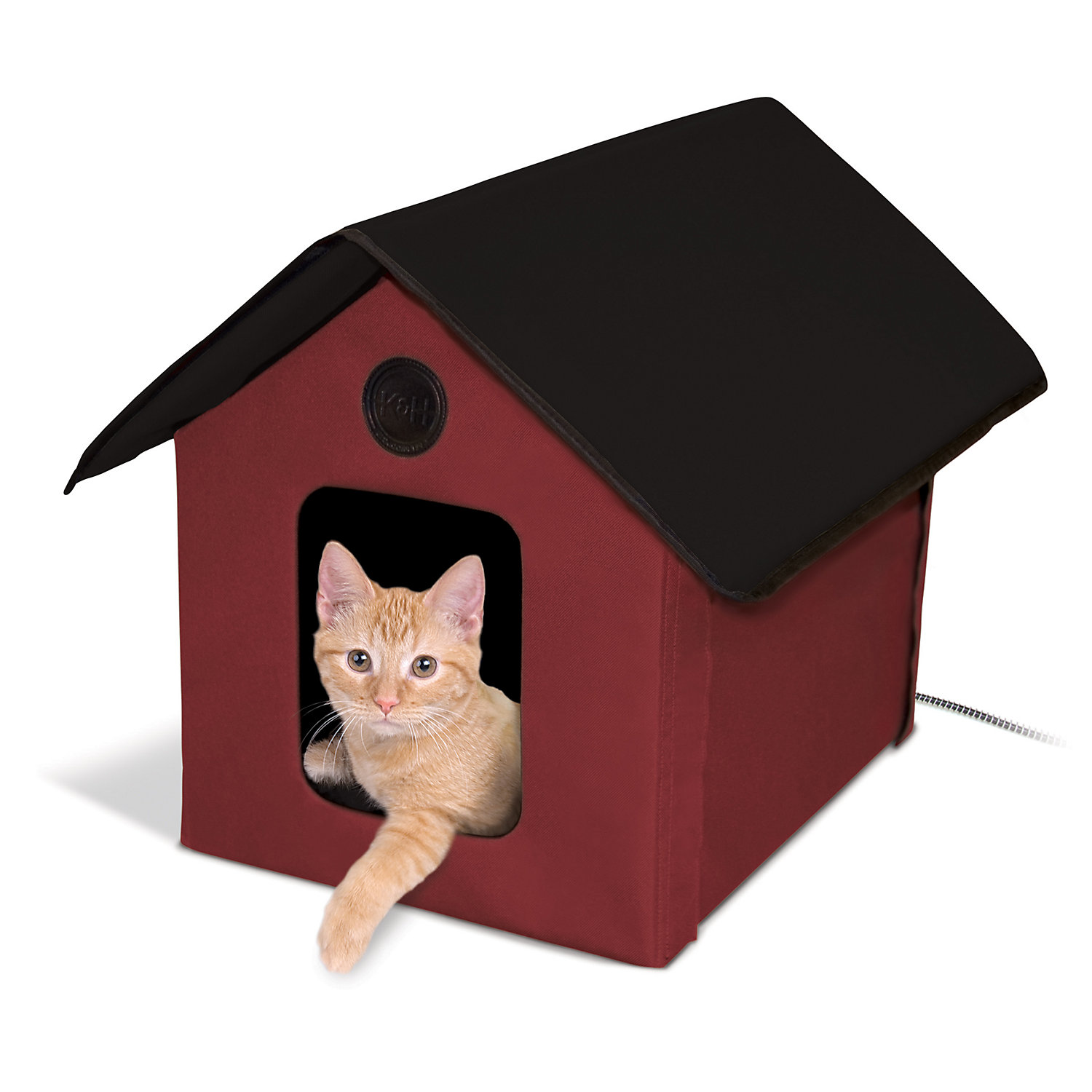 KH Red and Black Outdoor Heated Cat House Barn