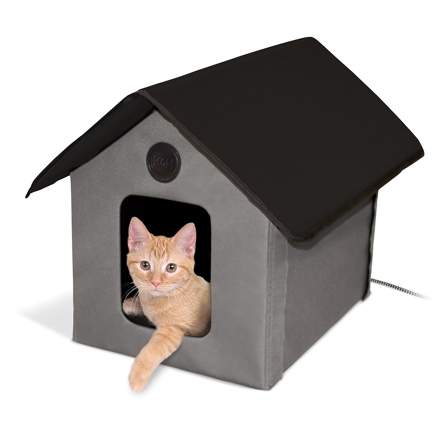KH Gray and Black Outdoor Heated Cat House